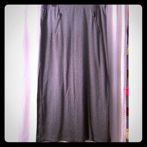 Dark grey maxi skirt with thigh high slits